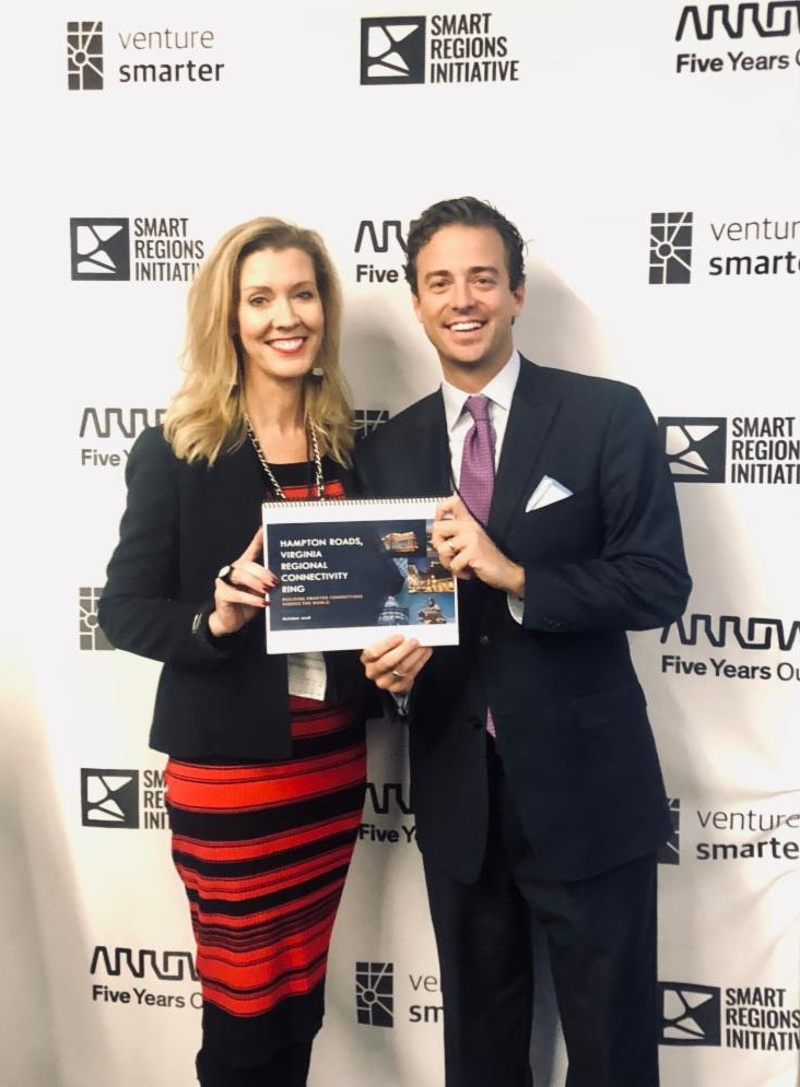 Norfolk City Council member, Andria McClellan and Virginia Beach City Council Member Ben Davenport Holding the Grand Prize Winning Project at 2018 Smart Infrastructure Challenge in Columbus, OH.