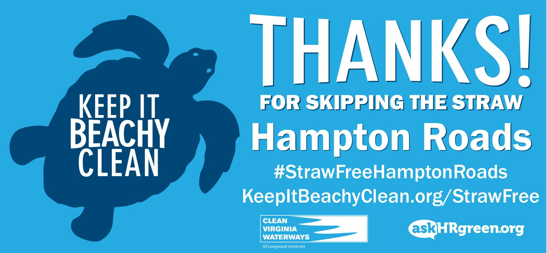 Graphic thanking Hampton Roads for skipping the straw