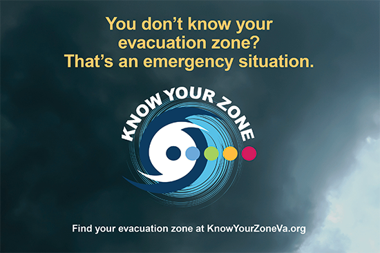 Graphic asking if evacuation zone is know.