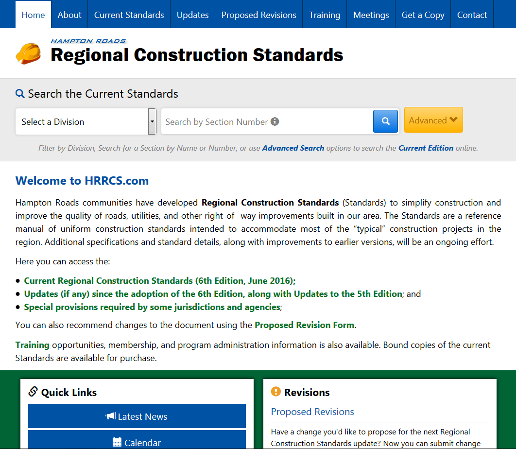 New Regional Construction Standards Website Homepage.