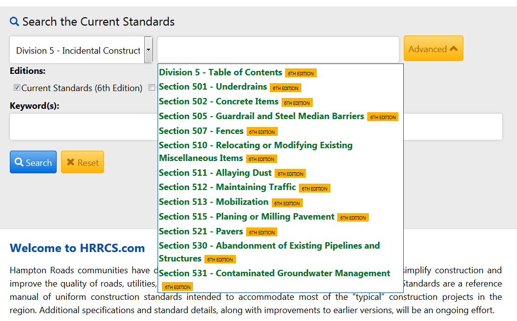New Search feature on the Regiona Construction Standards website.