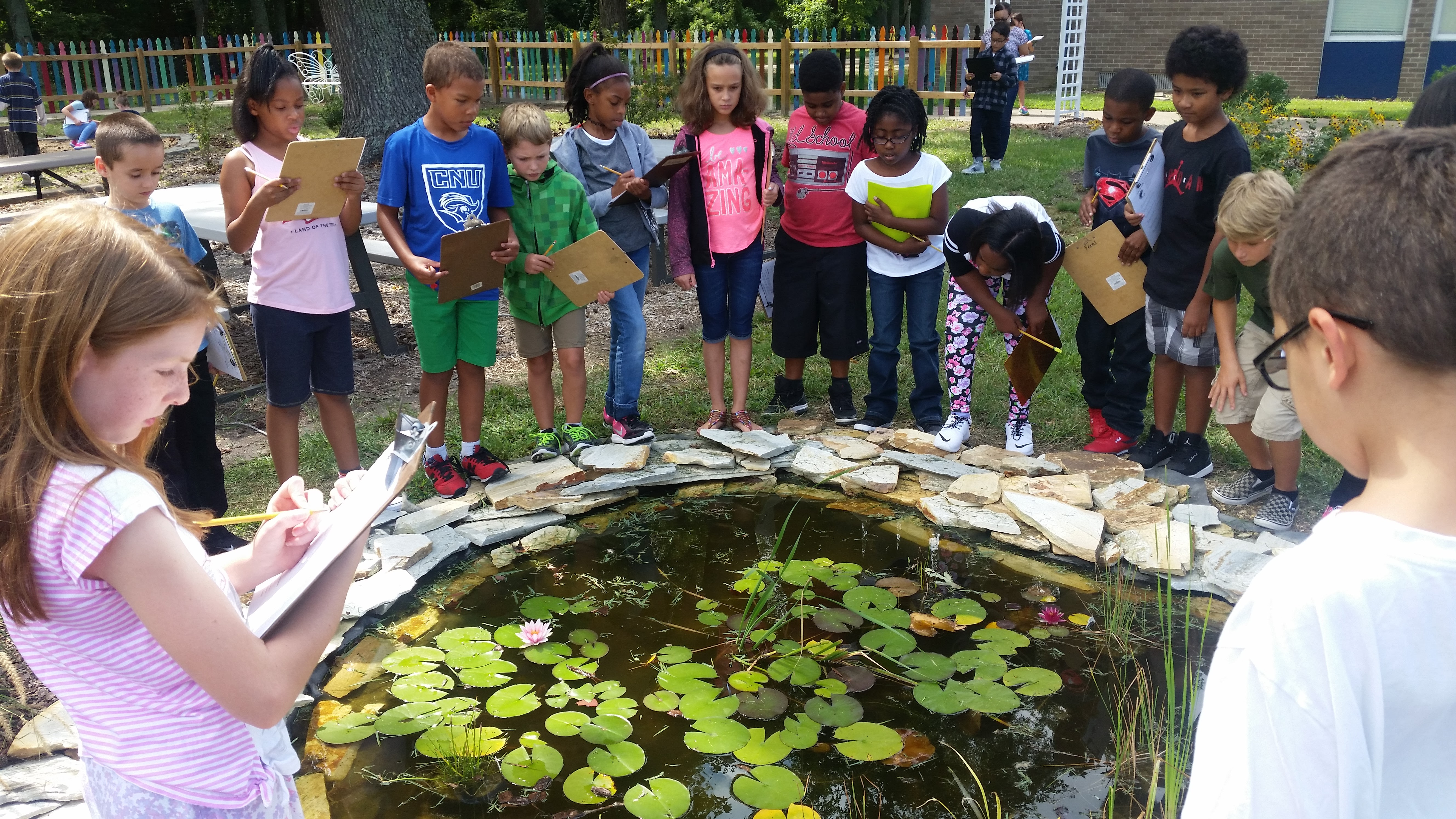 Elementary students making observations around a project made possible by an askHRgreen.org mini-grant.