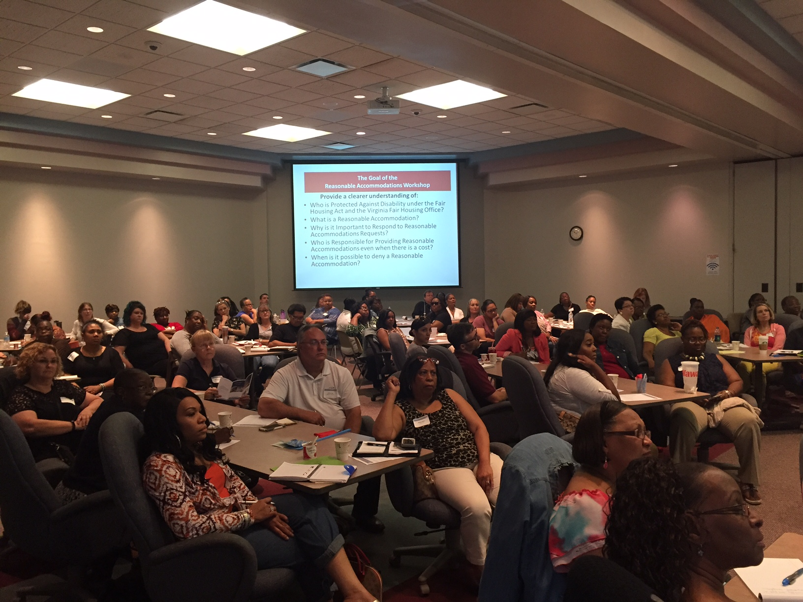 Capacity Crowd at the Understanding Reasonable Accommodations Workshop