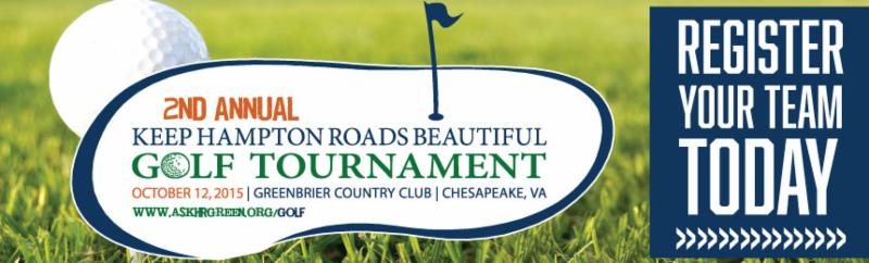 Save the Date banner. 2nd Annual Keep Hampton Roads Beautiful Golf Tournament