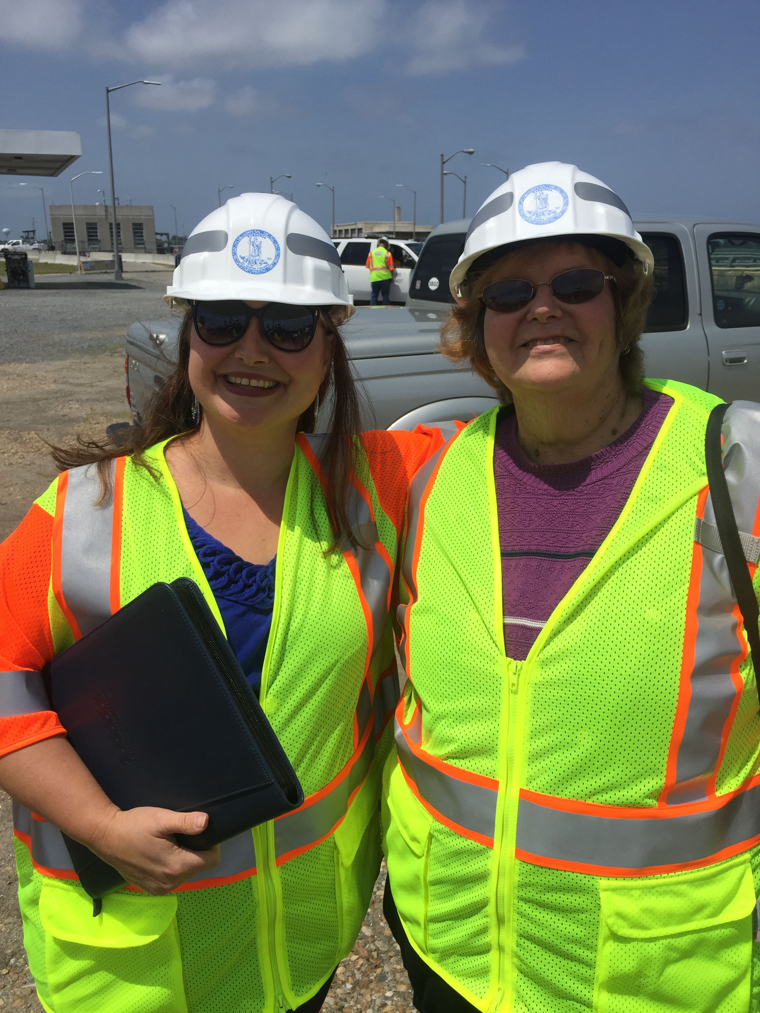 Jenny Redick (HRPDC), left, and Cheryl Simpson (Endpendence Ceter) Attended VDOT's LRAD Test at the HRBT.