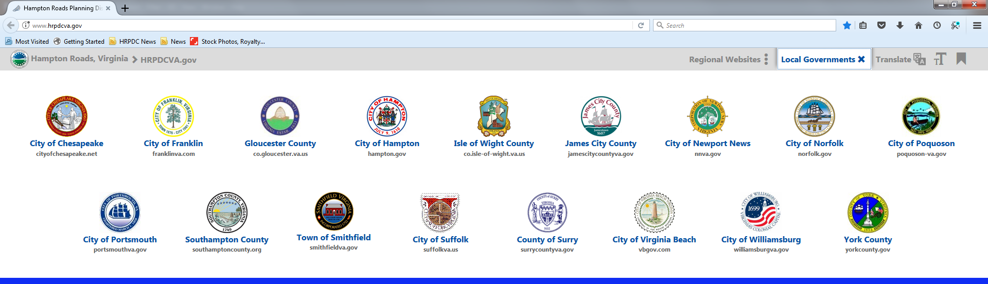 Image of Jurisdiction Drop Down menu available from the Regional Website Banner on the HRPDC website..