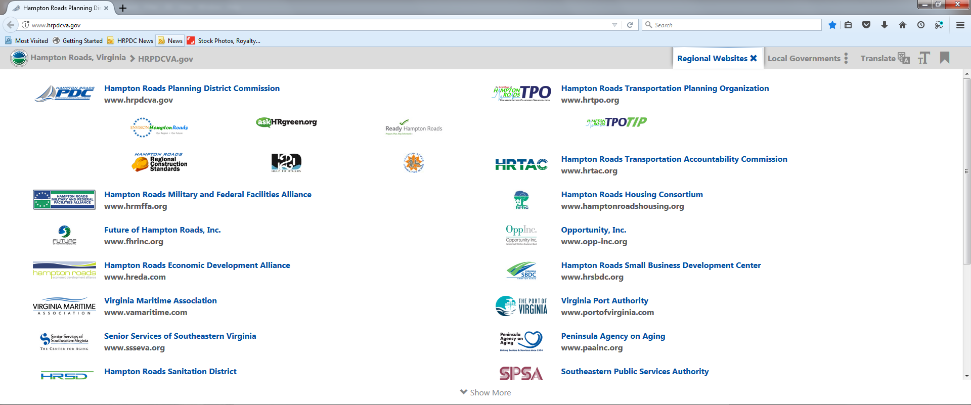 Image of the Regional Partners Drop Down menu available from the Regional Website Banner on the HRPDC website.