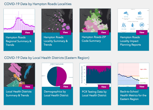 Images from the new Hampton Roads COVID-19 Impact Planning Hub Dashboard