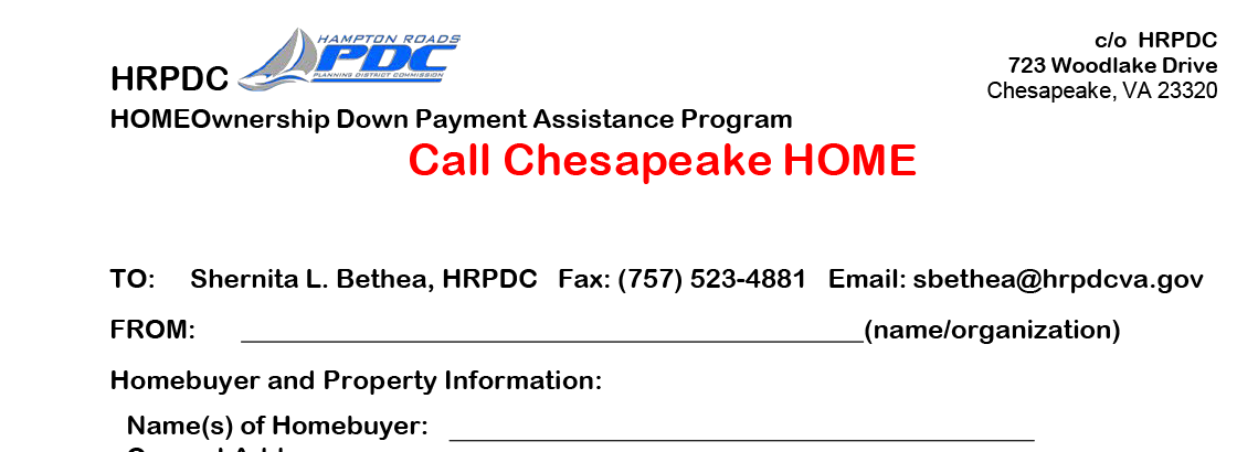 Image of Down Payment Assistance Program Reservation Form