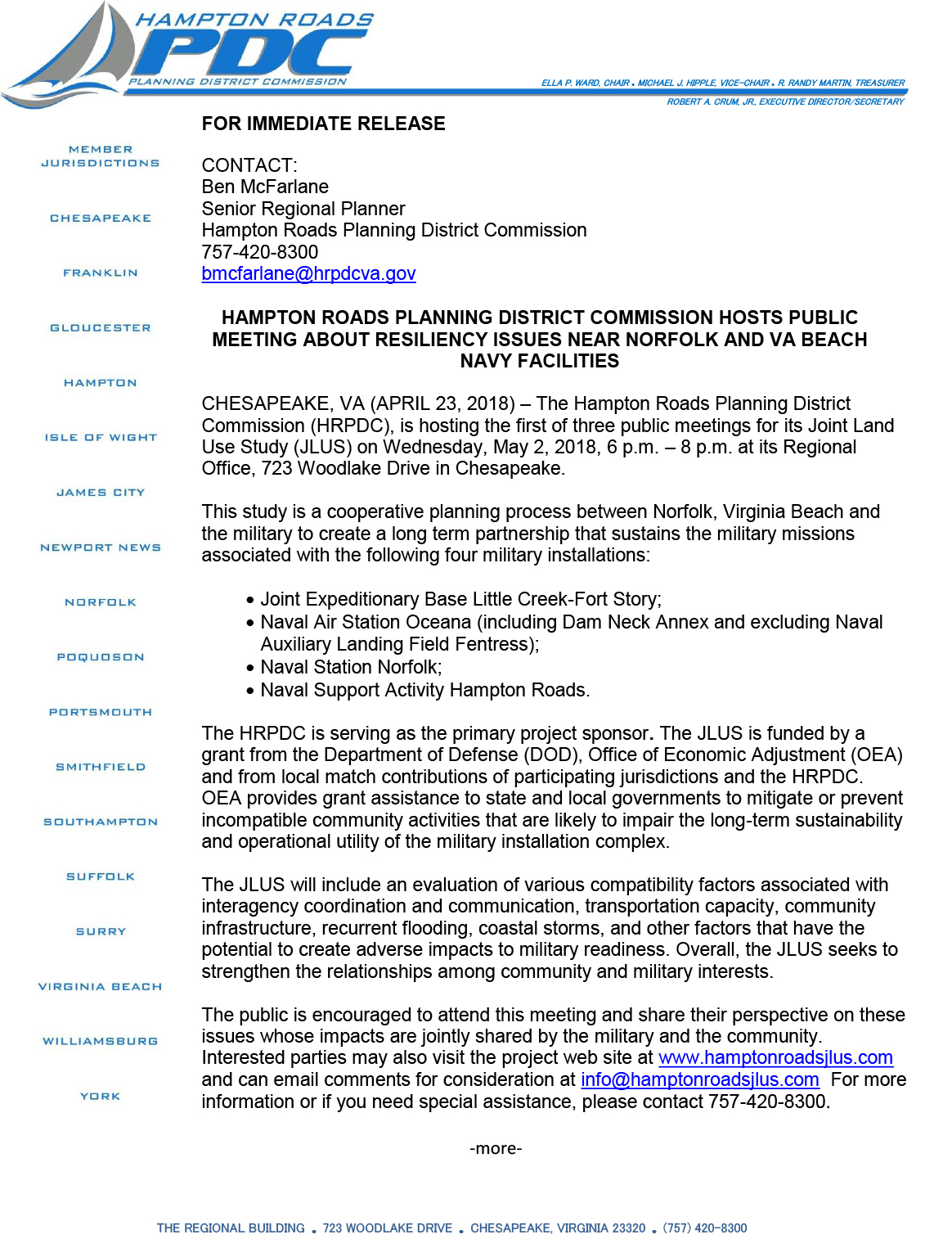 Page 1 of Press Release for HRPDC Public Meeting About Resiliency Issues Near Norfolk and Va Beach Navy Facilities