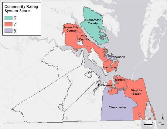 Map of Hampton Roads communities in the Coastal Virginia Community Ratings System