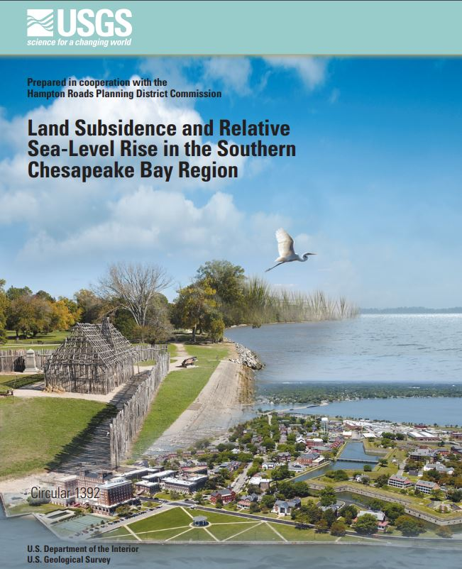 Cover Image of USGS/HRPDC Land Subsidence and Relative Sea-Level Ris in the Southern Chesapeake Bay Region Report