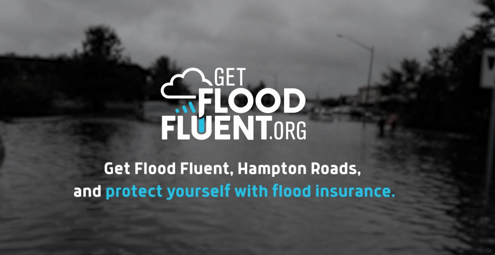 Image of stormy scene with GETFLOODFLUENT.ORG Text on top