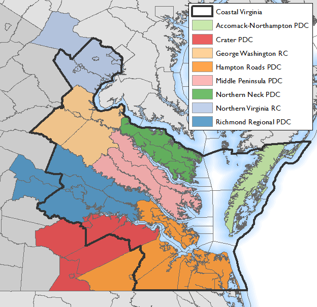 Map of Virginia's coastal zone.