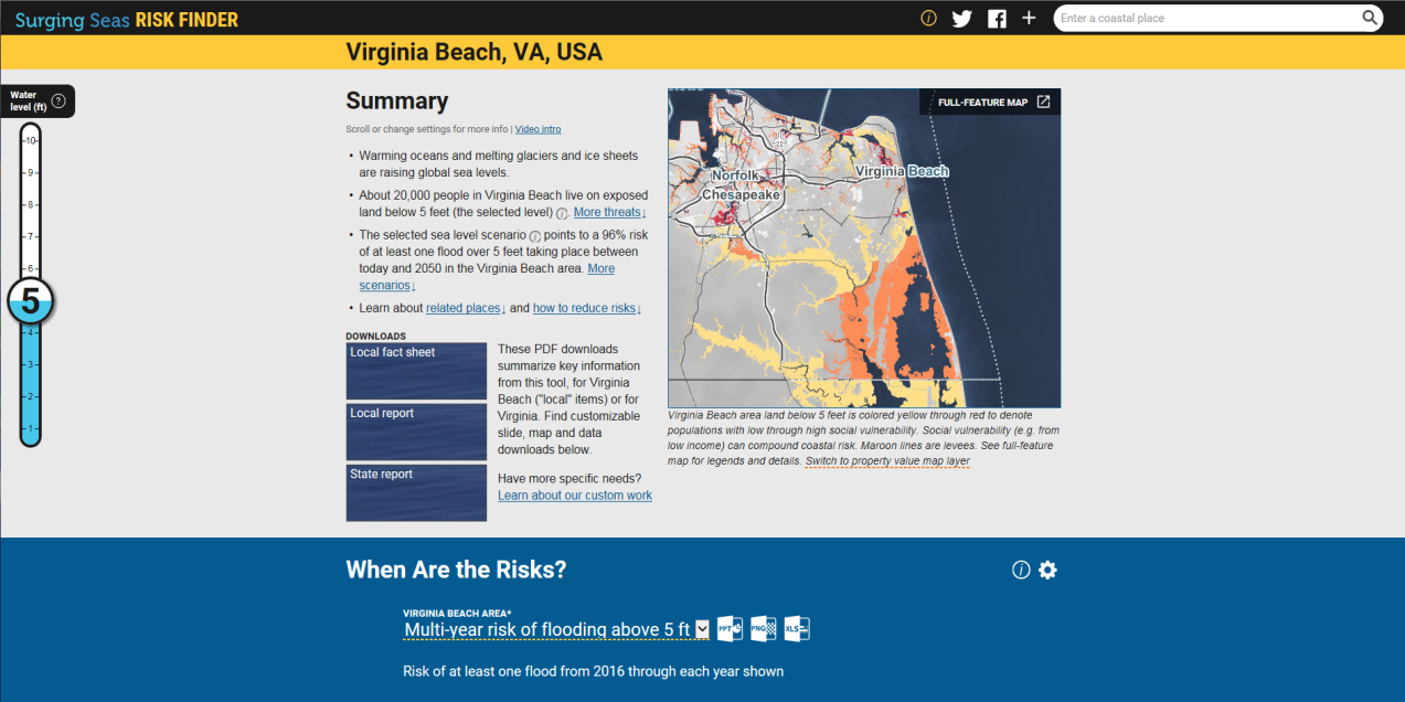 Map Image of and Summary Info on Virginia Beach from Climate Central's Surging Seas Risk Finder