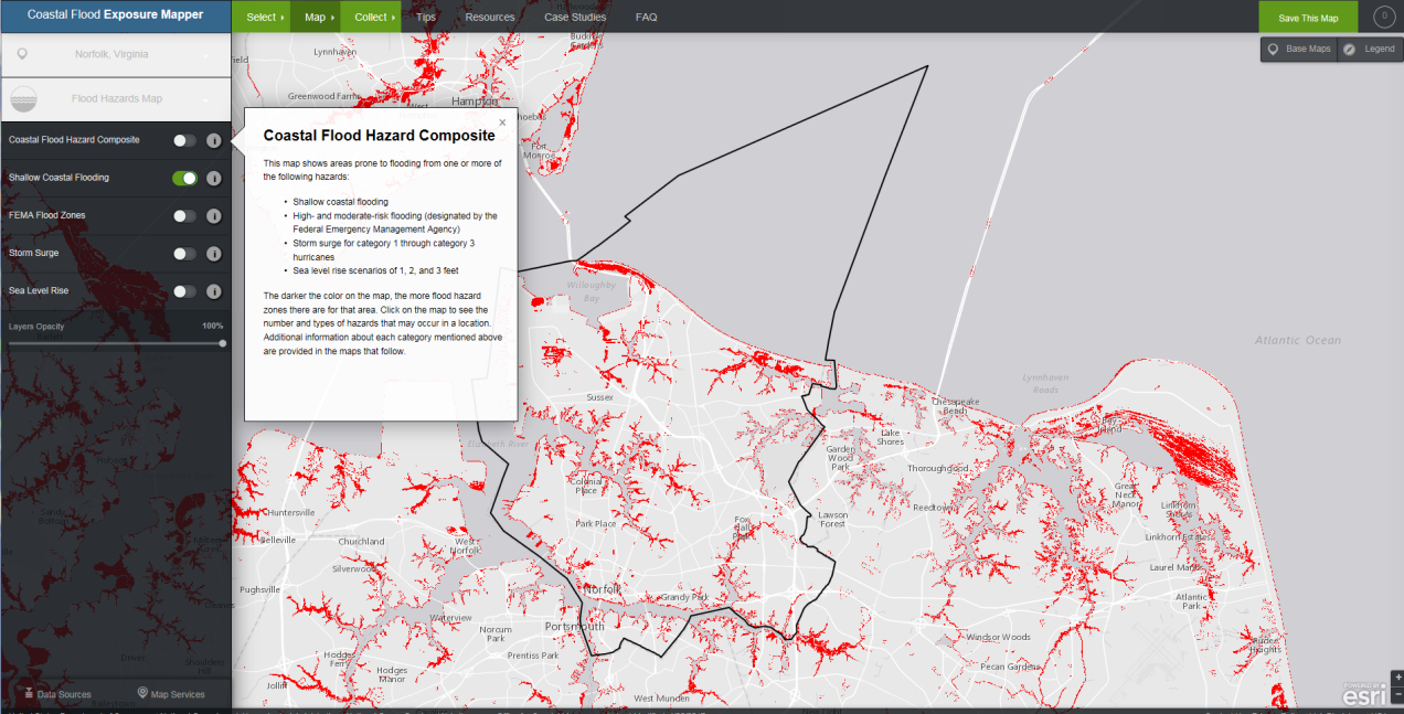 Map Image of Virginia Beach/Norfolk area from NOAA's Coastal Flood Exposure Mapper