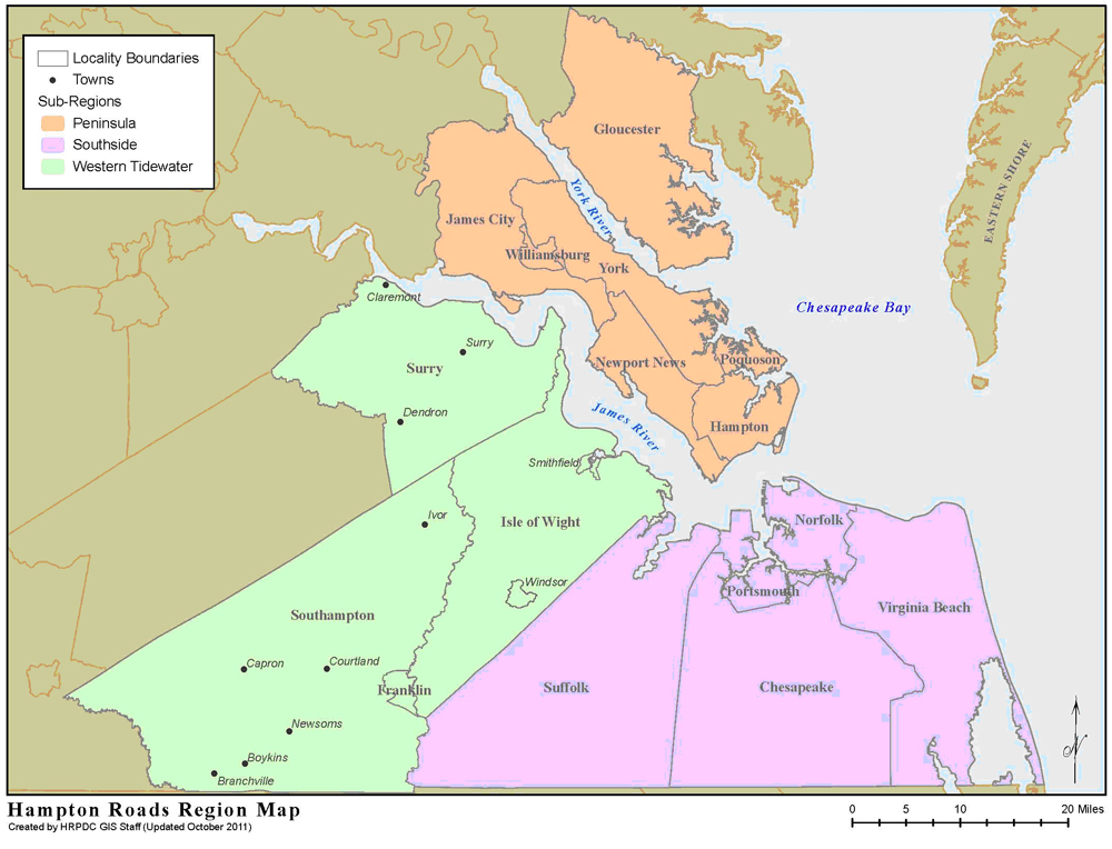 Hampton Roads Region Map