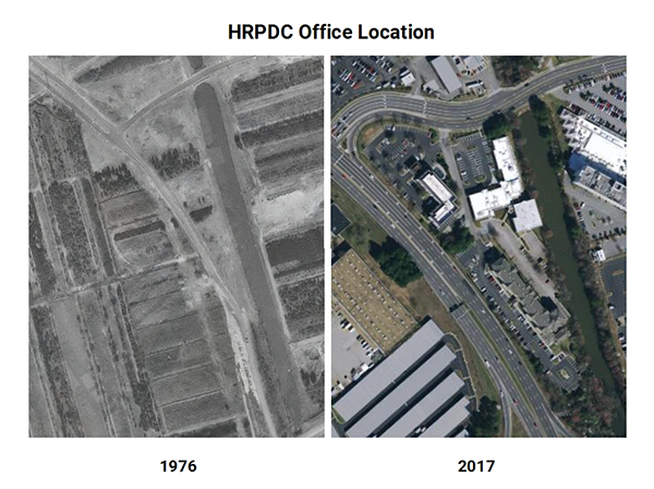 Aerial of HRPDC Office location 1976 and 2017